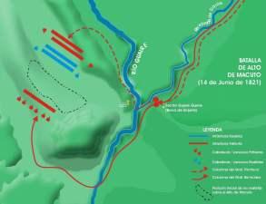 Área de desarrollo de la Batalla de Alto de Macuto (Santa Lucía). 14 de Junio de 1821